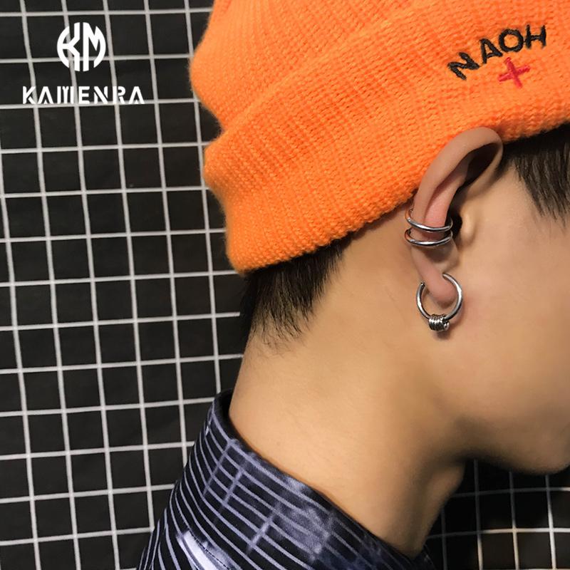 韩国潮牌无耳洞圈圈简约圆环耳夹钛钢嘻哈耳骨夹男女情侣耳钉耳环