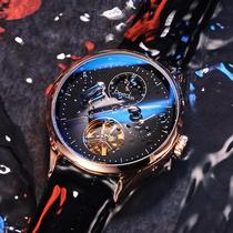时尚镂空男表精钢带夜光防水腕表手表男全自动机械表