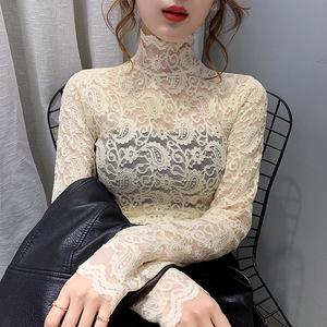 2020秋冬新款韩版弹力蕾丝打底衫高领时尚性感内搭洋气小衫女上衣