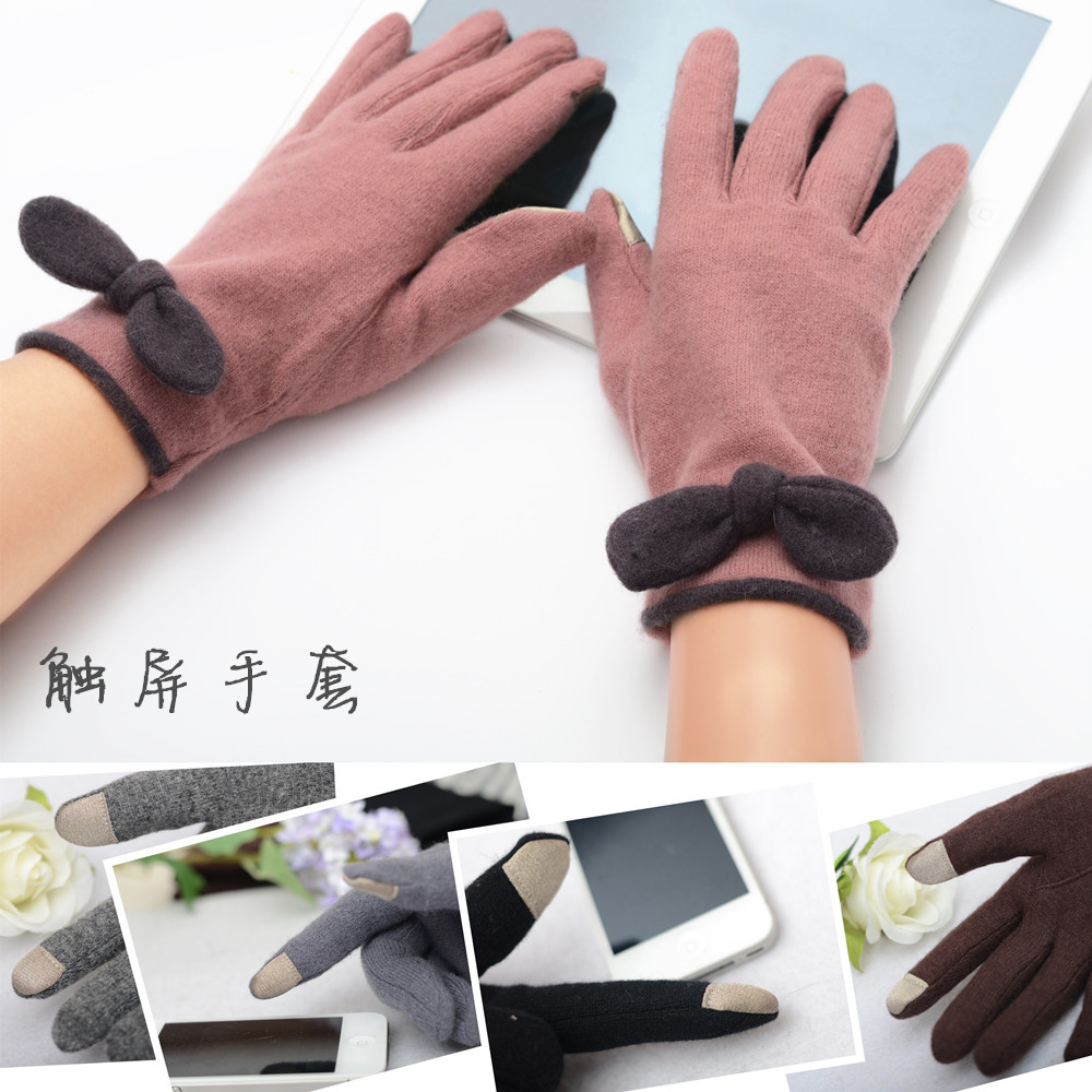 Autumn and winter new bow rabbit wool gloves women warm rest Korean Japanese version play mobile phone touch screen package mail