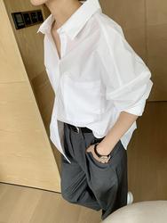 高端女装秋季新款白色纯棉衬衫女设计感小众宽松bf风工装长袖上衣