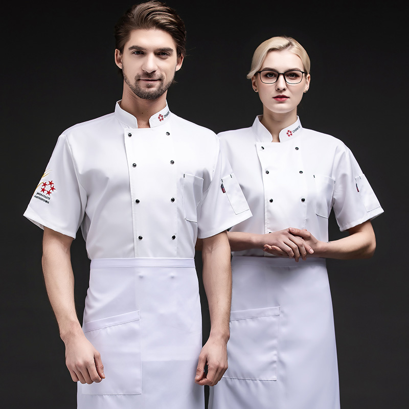 Hotel chefs work clothes short sleeve summer clothes western restaurant pastry uniform Bakers work clothes cake clothes decoration