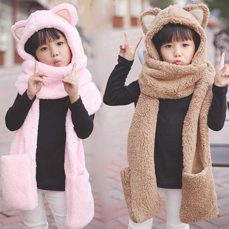 Зима женщина корейский шарф перчатки три из тело костюм студент ребенок милый шарф утолщённый сохраняющий тепло плюш