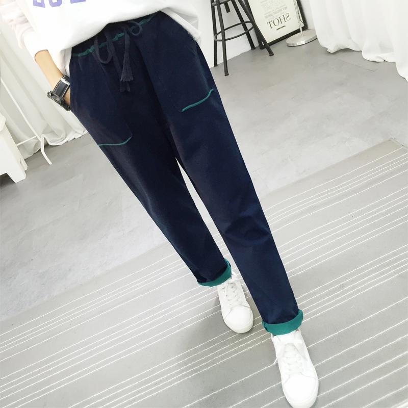 秋季牛仔针织裤女长裤大码做旧弹力修身显瘦小脚铅笔裤少女休闲裤