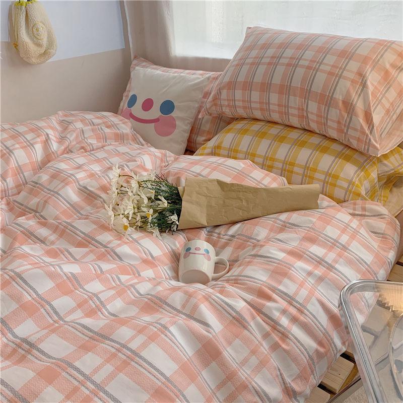 タオバオ仕入れ代行-ibuy99|床上用品|床单四件套ins北欧淑女少女格子床上用品简约被套被单寝室4三件套