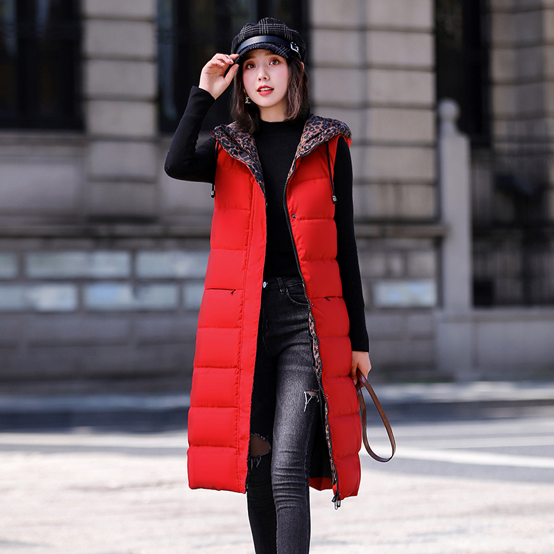 Fat sister mm slim down cotton waistcoat large womens winter Vest Medium length over the knee extra large coat