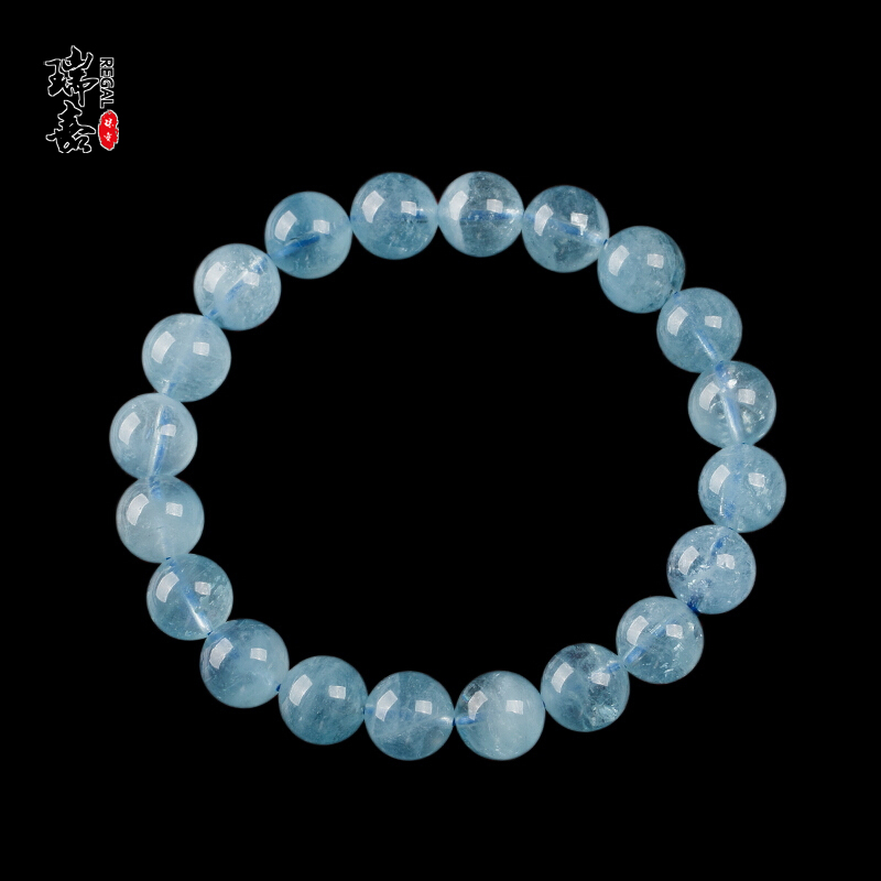 Natural Aquamarine Bracelet ice single circle bracelet for girls birthday blue crystal simple Aquamarine Bracelet