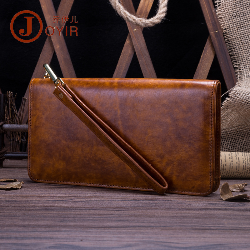 Mens new first layer cowhide wallet leather business smooth handbag simple and generous oil wax leather handbag