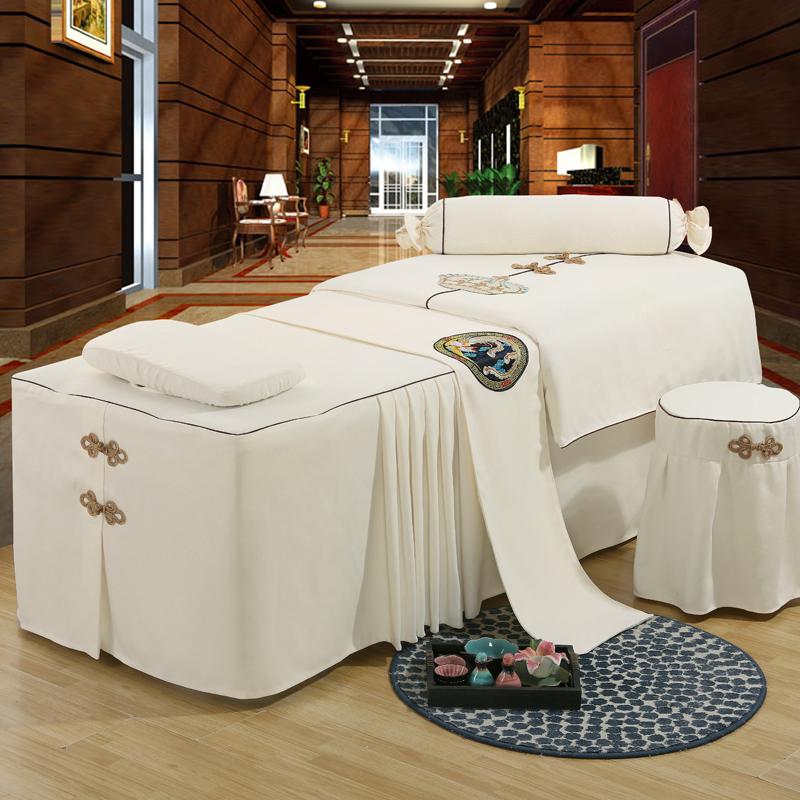 米白色美容床罩四件套床套纯棉床单