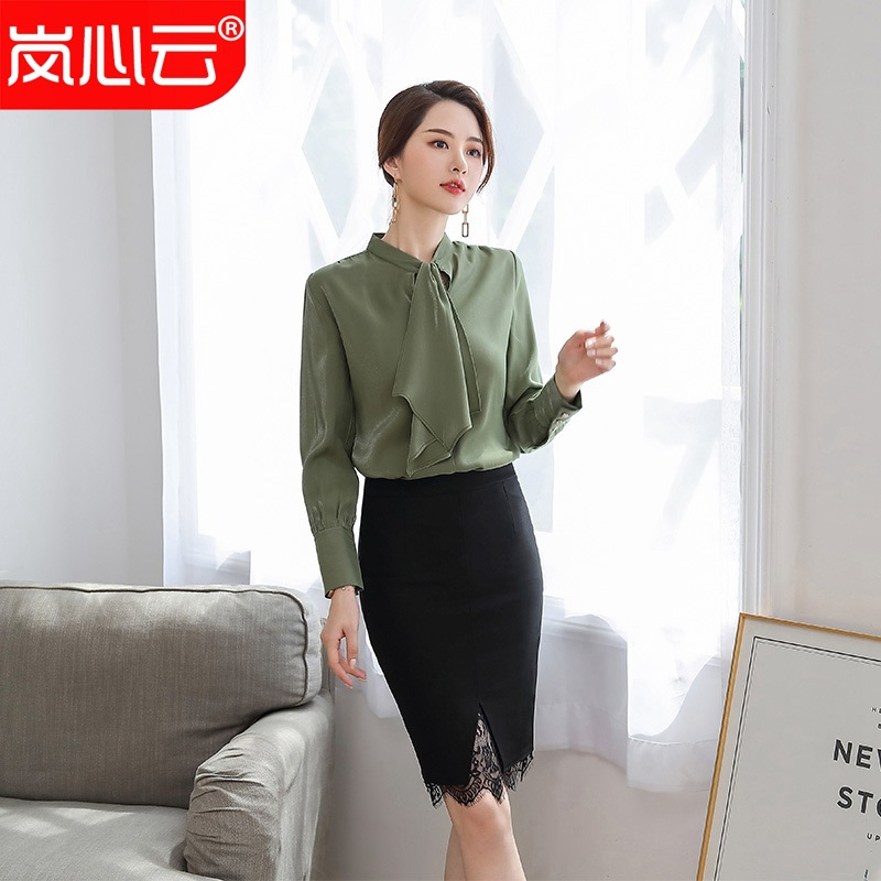 2020 new shirt women long sleeve autumn winter professional slim tie top ribbon business interview white shirt formal