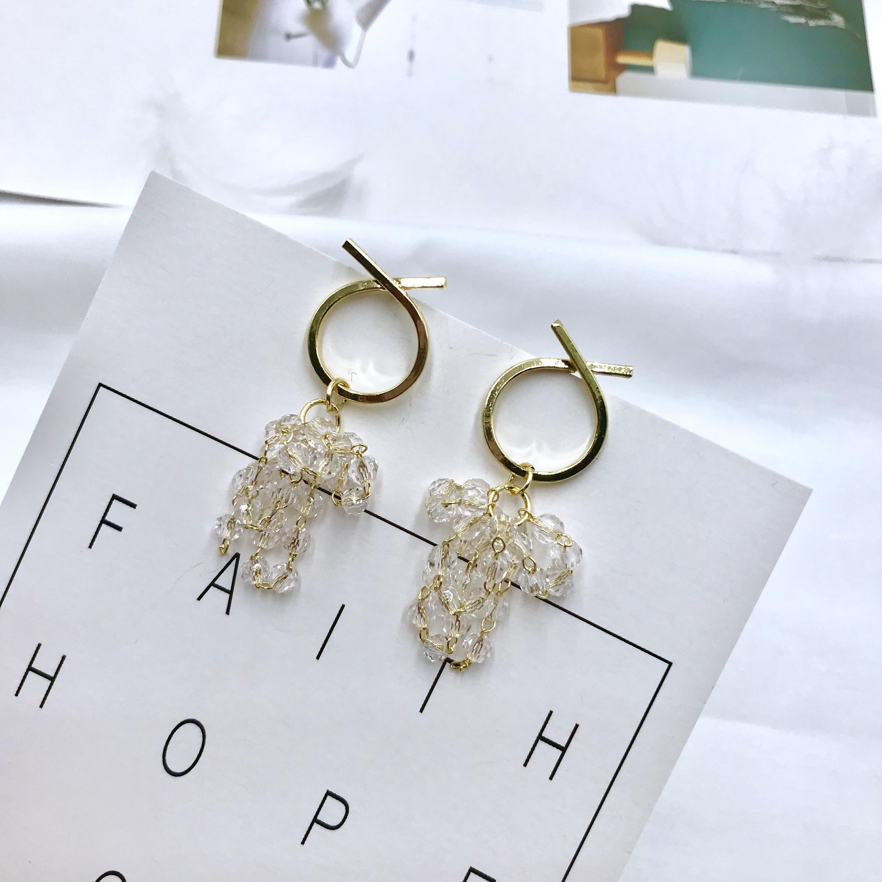 S925银针多层水晶缠绕流苏耳环韩国时尚气质网红金属圈圈耳钉新款