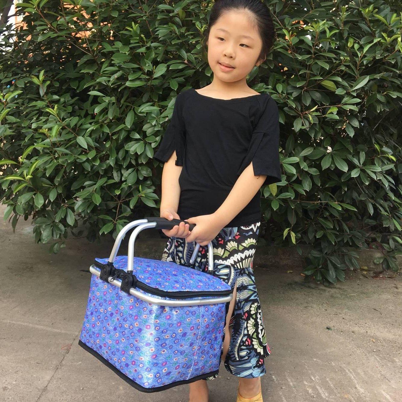 小号新款中国儿童保温篮子户外野餐包外卖送餐箱冰包饮料外送箱