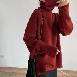 圣诞新年红高领大毛衣 温暖气质绒感宽松简约百搭高领毛衣外套女