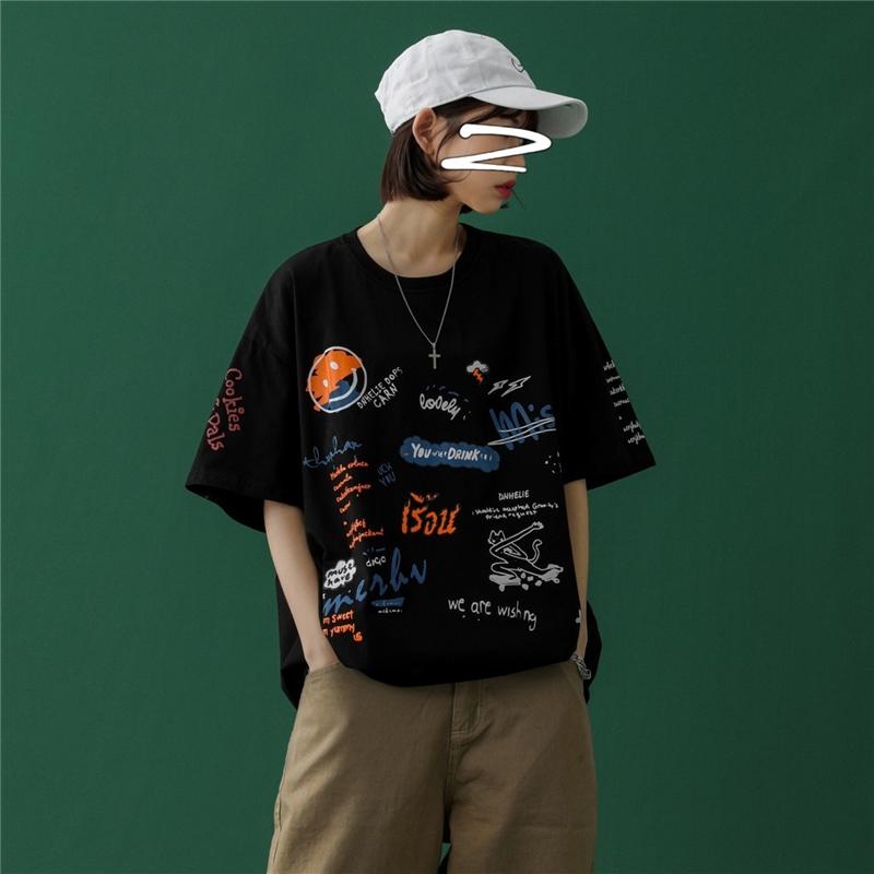 中性女装2021夏季新款文艺男女生宽松涂鸦情侣夏装短袖T恤A13-P38
