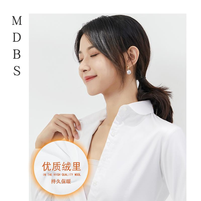 学生加绒白衬衫女职业长袖修身工作服保暖衬衣秋冬季加厚圆领正装图片