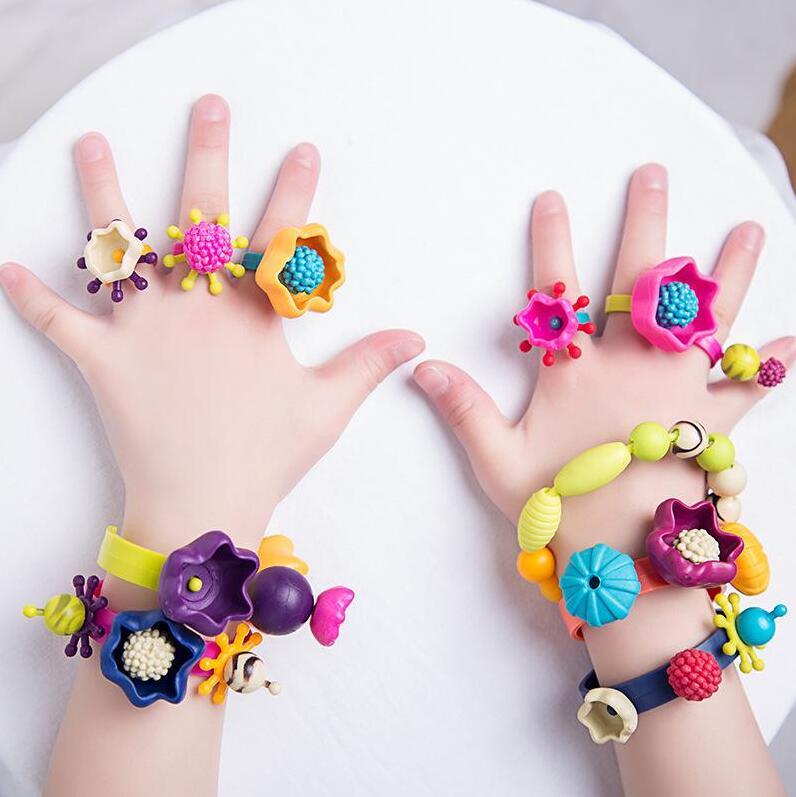 波普珠儿童串珠女孩拼插玩具无绳项链手链DIY盒装女童生日礼物