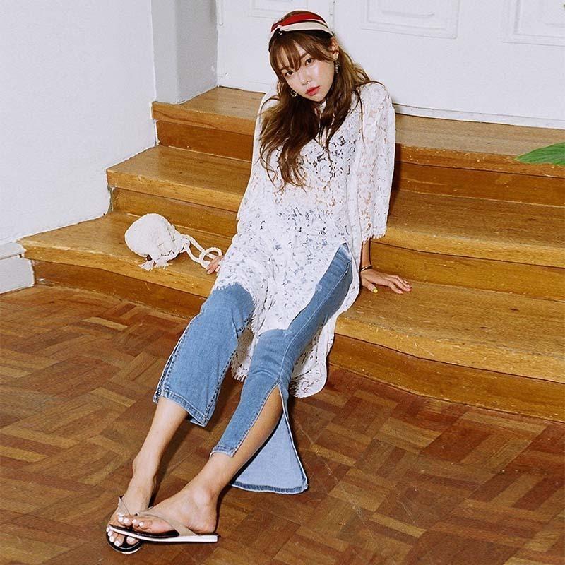 蕾丝中长款秋新款性感镂空罩打底衫