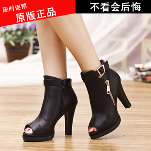 Fish head high with thick waterproof zipper female sandals with the fish head cool boots sexy boots belt buckle casual shoes