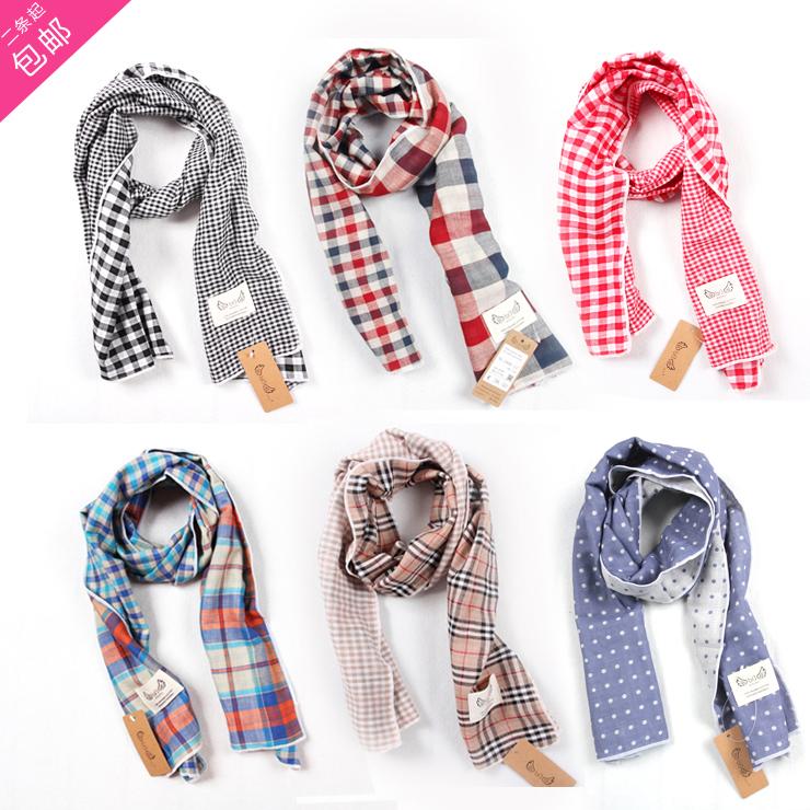 韓版の純綿の2層の綿糸の格子の長いマフラーの全綿のガーゼは三角の巾の甘い親子を組み合わせることができます。