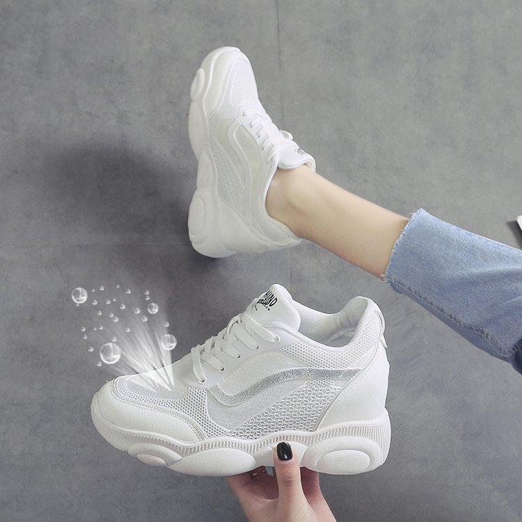 内增高小白鞋女2019夏季新款网红女鞋增高厚底镂空网面休闲运动鞋