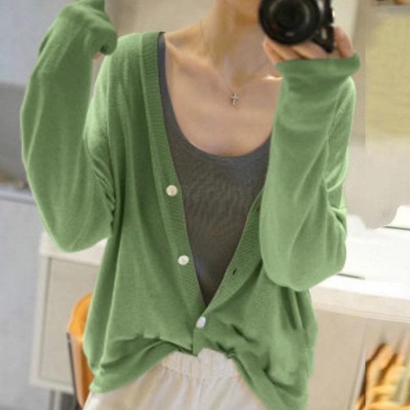 春夏新款超薄羊绒开衫女宽松V领羊毛毛衣防晒空调衫针织轻薄外套