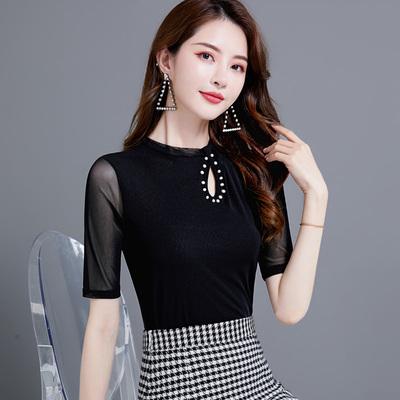 1238# (实拍) 新款半高领镂空修身显瘦黑色中袖珍珠网纱打底衫