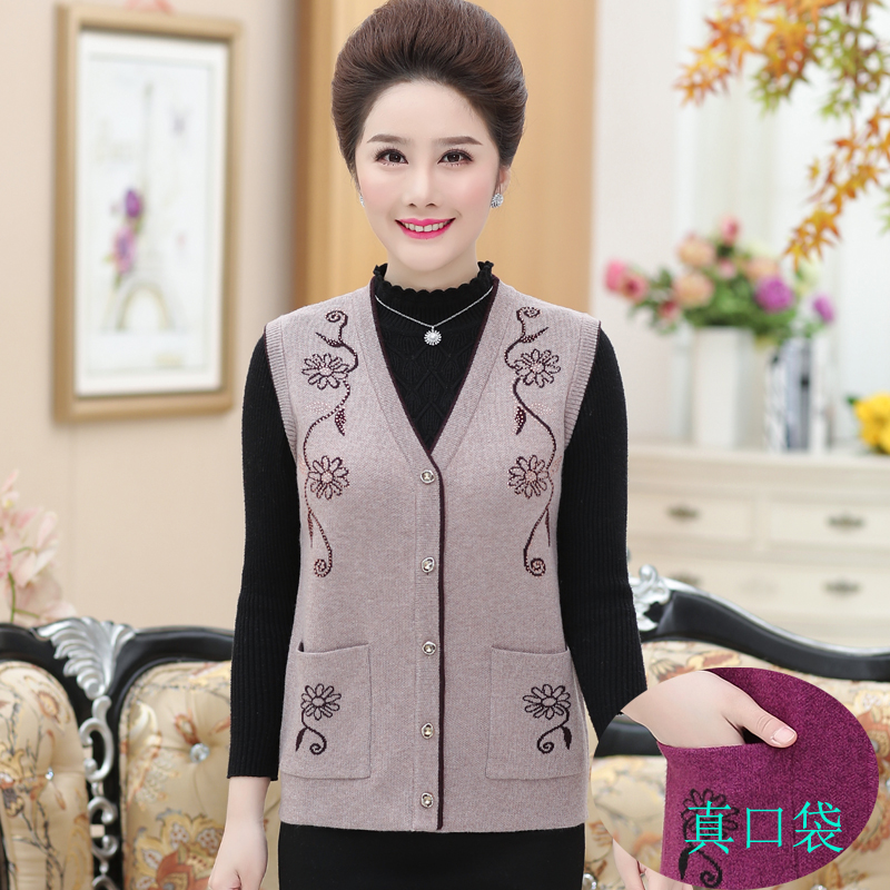 Spring and autumn middle-aged and old peoples mothers vest vest womens sweater knitting wool granny short cardigan coat
