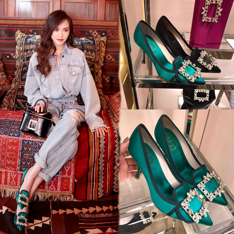 Womens shoes 2019 new autumn shoes Tang Yan same green pointed water diamond square button high heels black shallow mouth single shoes