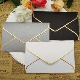 创意简约白色黑色红色信封信纸套装 请柬邀请函信封定制烫金logo