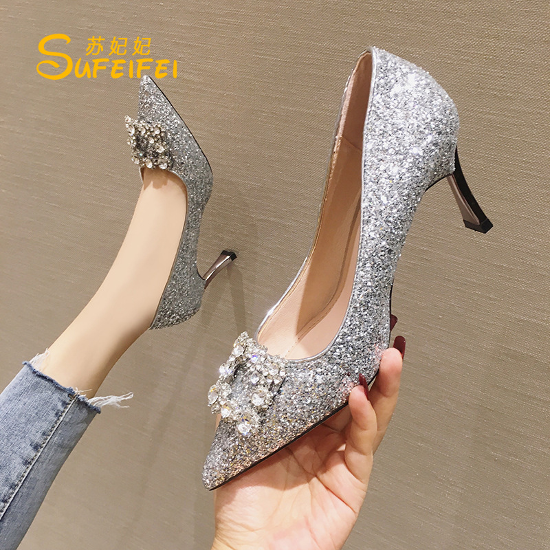 New bride shoes Bridesmaid shoes banquet shoes high heels womens stiletto heels sexy wedding shoes womens net red