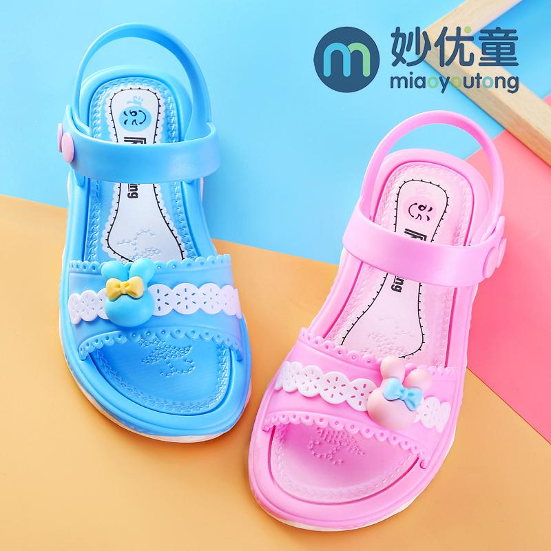 女童凉鞋2018夏季新款韩版女童沙滩凉鞋学生公主塑胶软底宝宝凉鞋