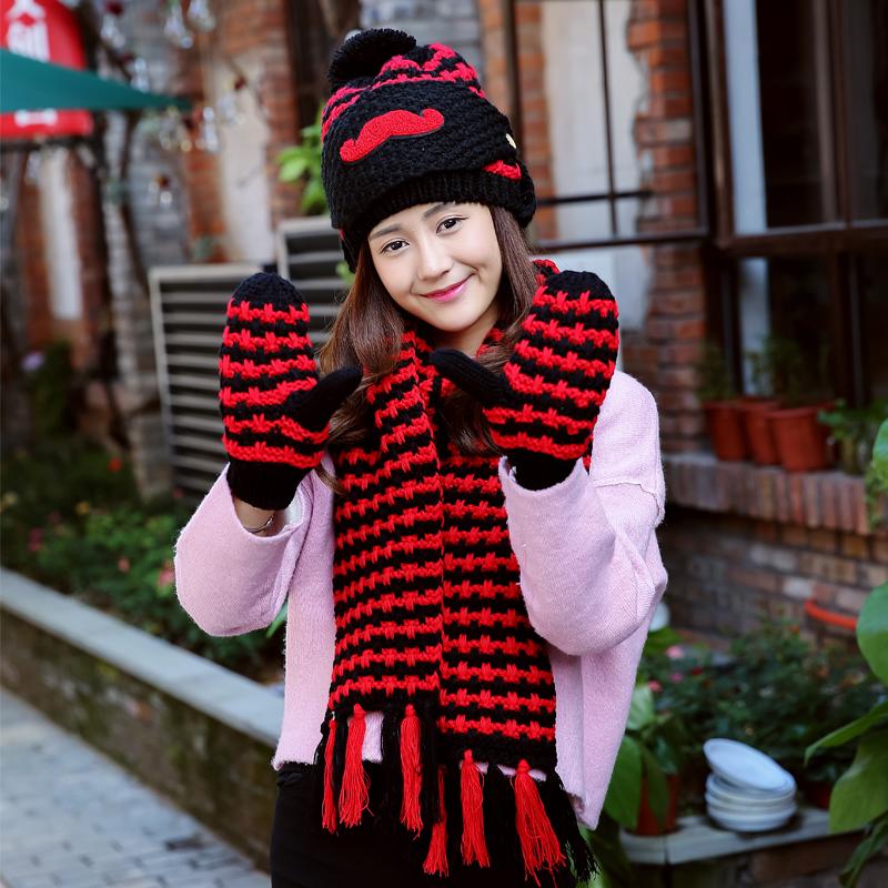 Шерстяной крышка нагрудник установите зима милая женщина день рождения подарок усы крышка шляпа перчатки платок тело наборы