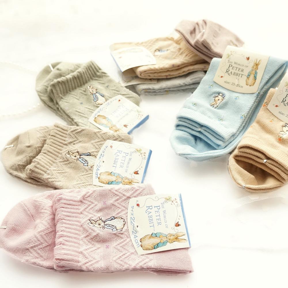 (用1元券)5双包邮春夏彼得兔全棉网眼透气女袜子镂空中筒袜可爱纯棉短袜女