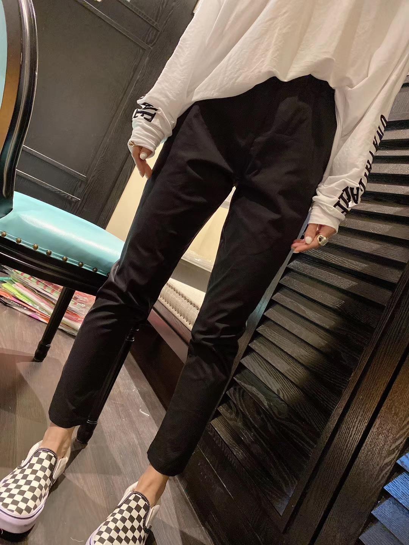 2020夏季韩国新款超薄速干纸皮裤女松紧高腰黑色小直筒九分纸袋裤