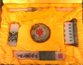 正品天然白玉镶嵌国画石文化用品