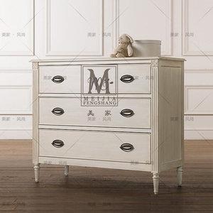 美式乡村实木雕花三抽屉柜子欧式白色做旧三斗柜儿童房储物收纳柜