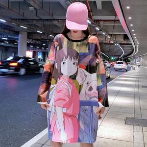 实拍泰国潮牌2019秋季新款卡通印花T恤女宽松中长款个性打底衫