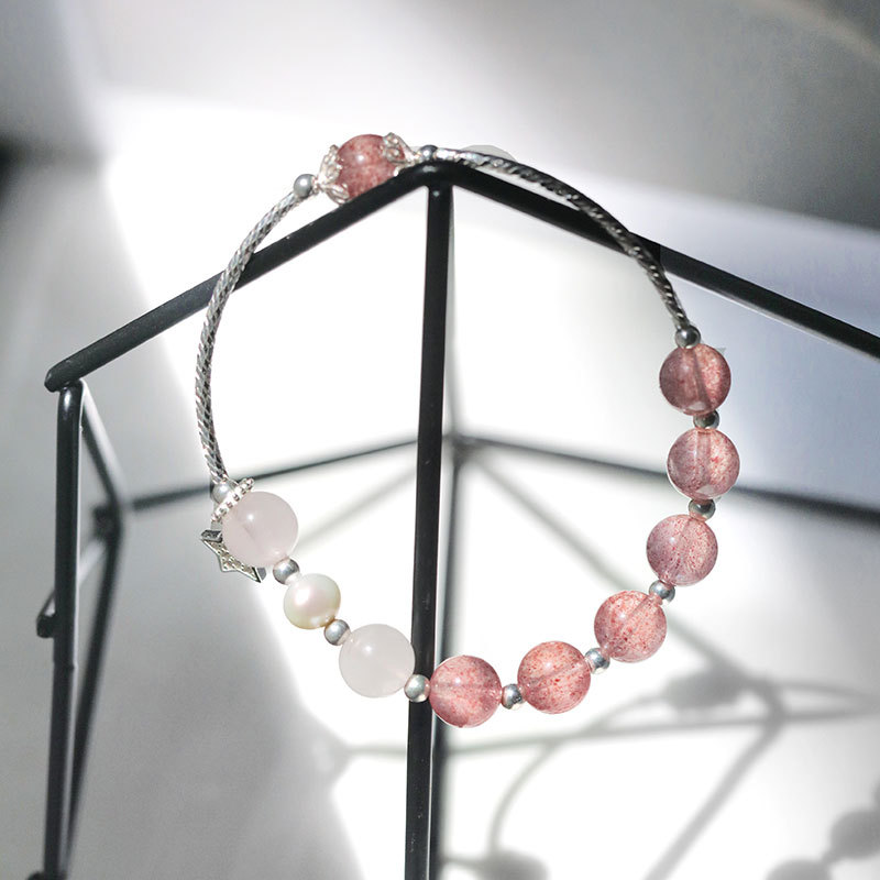 Deng hem   S925 full body Sterling Silver lovely bracelet girl heart strawberry crystal star Pearl Bracelet hand string beads