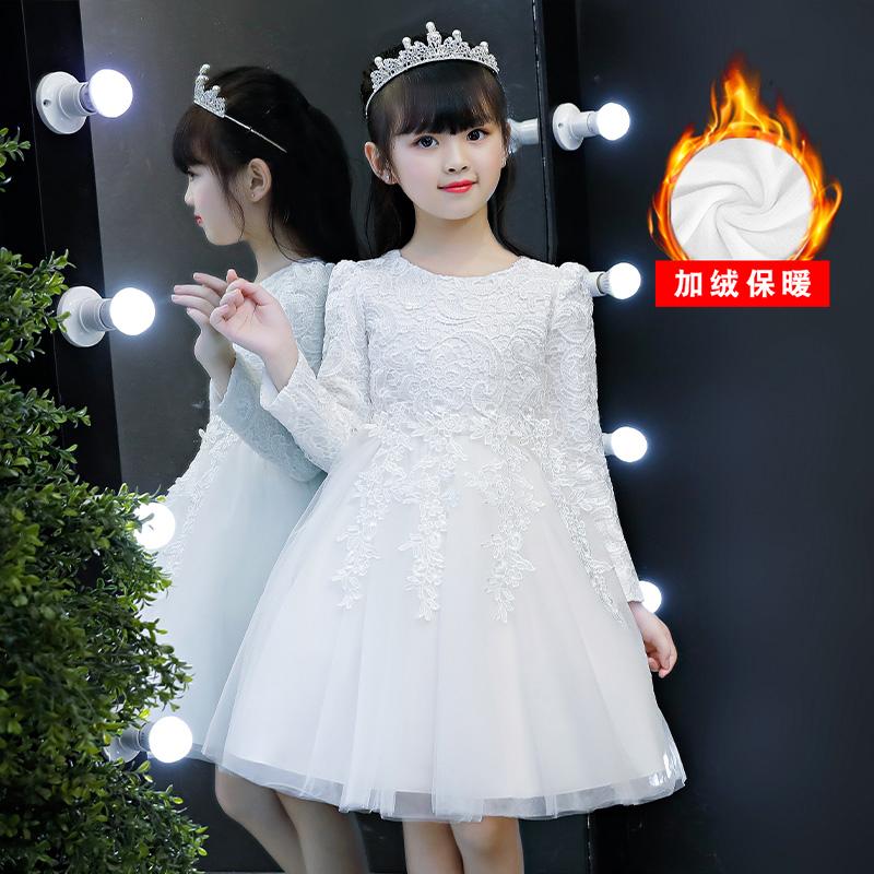 公主裙女童秋冬装新款儿童加绒连衣裙小女孩洋气蓬蓬纱礼服冬裙子