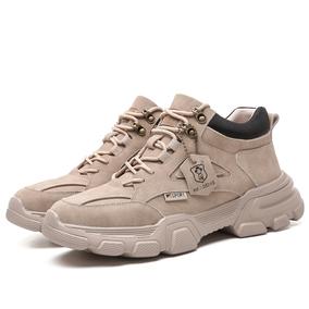 马丁靴男加绒中帮复古工装高帮鞋子