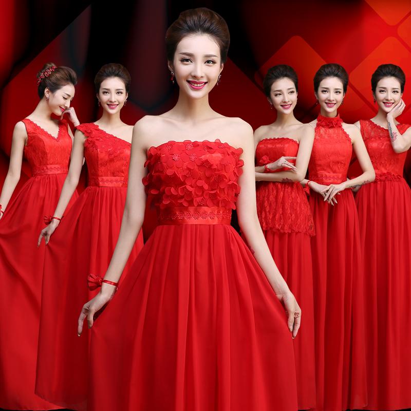 バック娘服2021新型春卒業合唱バック娘団礼服結婚赤い姉妹スカート公演服長款