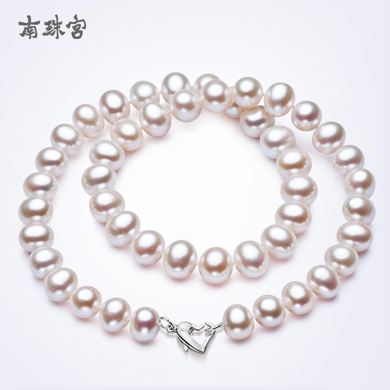 南珠宫爱心间 淡水珍珠项链 强光白色正品女送妈妈可加长款毛衣链