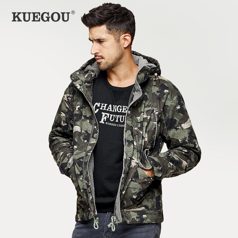 羊羔绒男外套 秋季连帽男士棉衣羊羔毛工装迷彩棉服潮6504