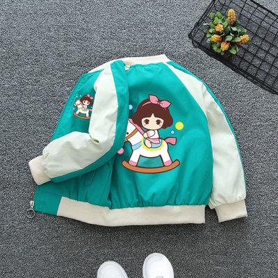 童装女童风衣外套春装儿童女孩中大童洋气春秋2021新款卡通棒球服