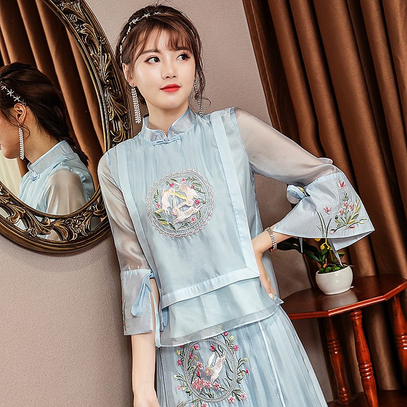 embroidered Tang suit top women retro national style Chinese style improved cheongsam top women short