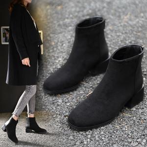粗跟短靴女切尔西靴子2019年秋冬季新款马丁靴韩版百搭加绒女鞋子