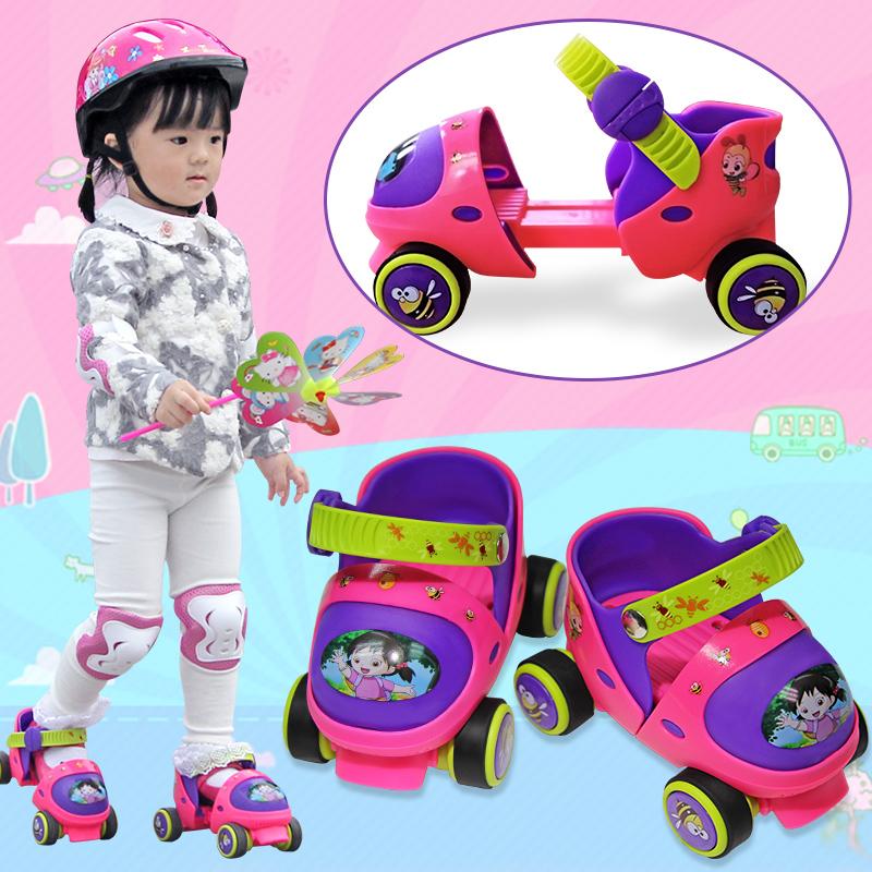 Таинственный вереск коньки ребенок двойной стороной скольжение коньки ребенок четырехколесный засуха коньки младенец катание на коньках обувной начинающий регулируемые