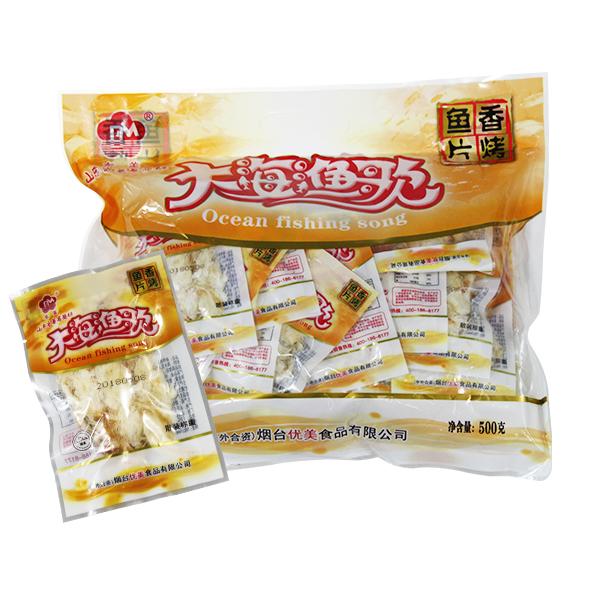 【1件包邮】东美大海渔歌鳕鱼片/优美香烤鱼片500g即食零食鱼干