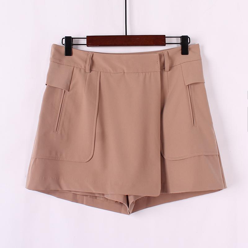 夏季新品甜美日系學院風高腰休閑褲時尚闊腿A字型短褲假兩件裙褲