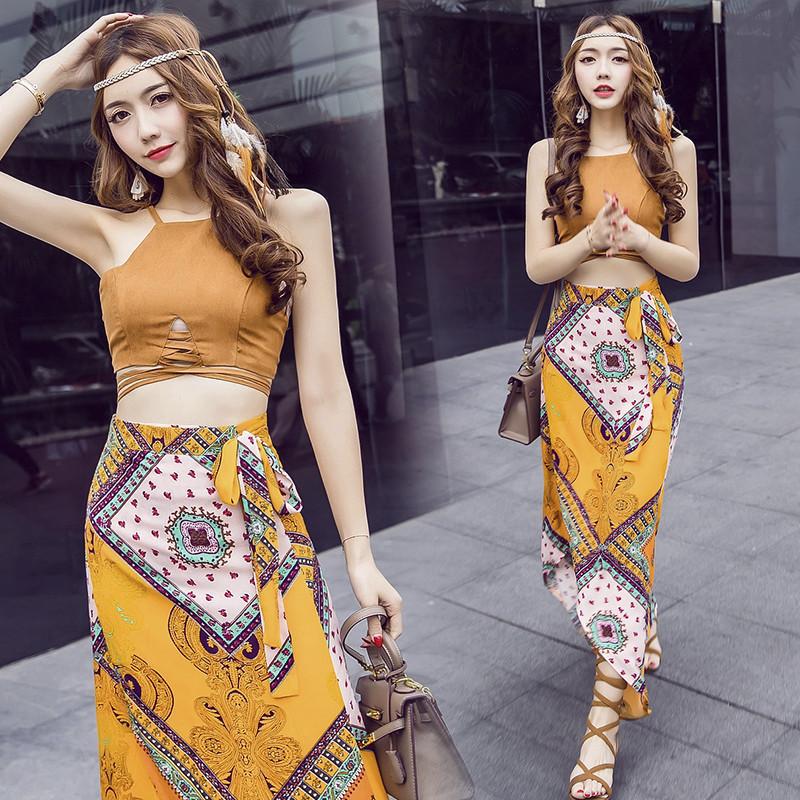 限6000张券2019夏季泰国套装女潮两件套沙滩连衣裙旅游海边度假波西米亚长裙